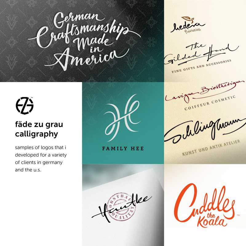 samples of calligraphy logos designed by artist fade zu grau