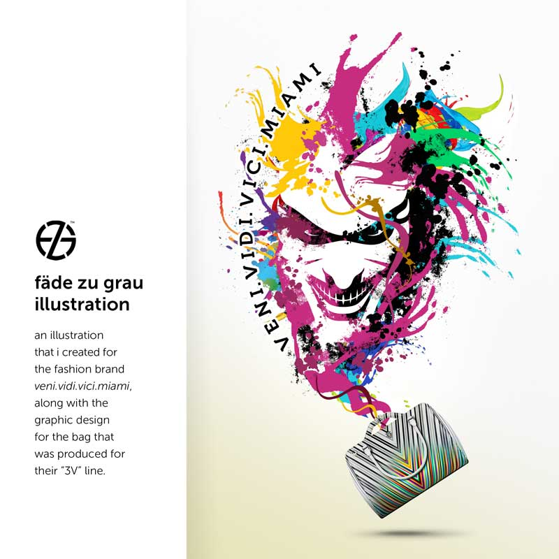 color splashes graphic design of a face made by artist fade zu grau