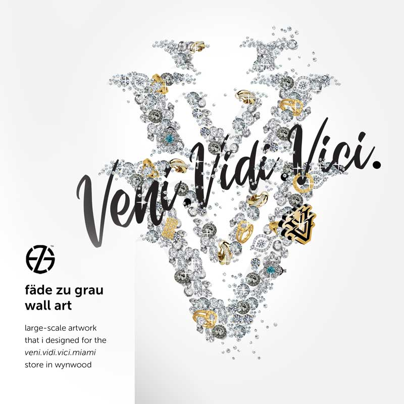 graphic design made from diamonds by artist fade zu grau