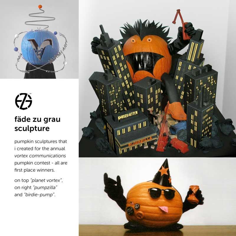 pumpkin sculptures made by artist fade zu grau for an annual pumpkin contest