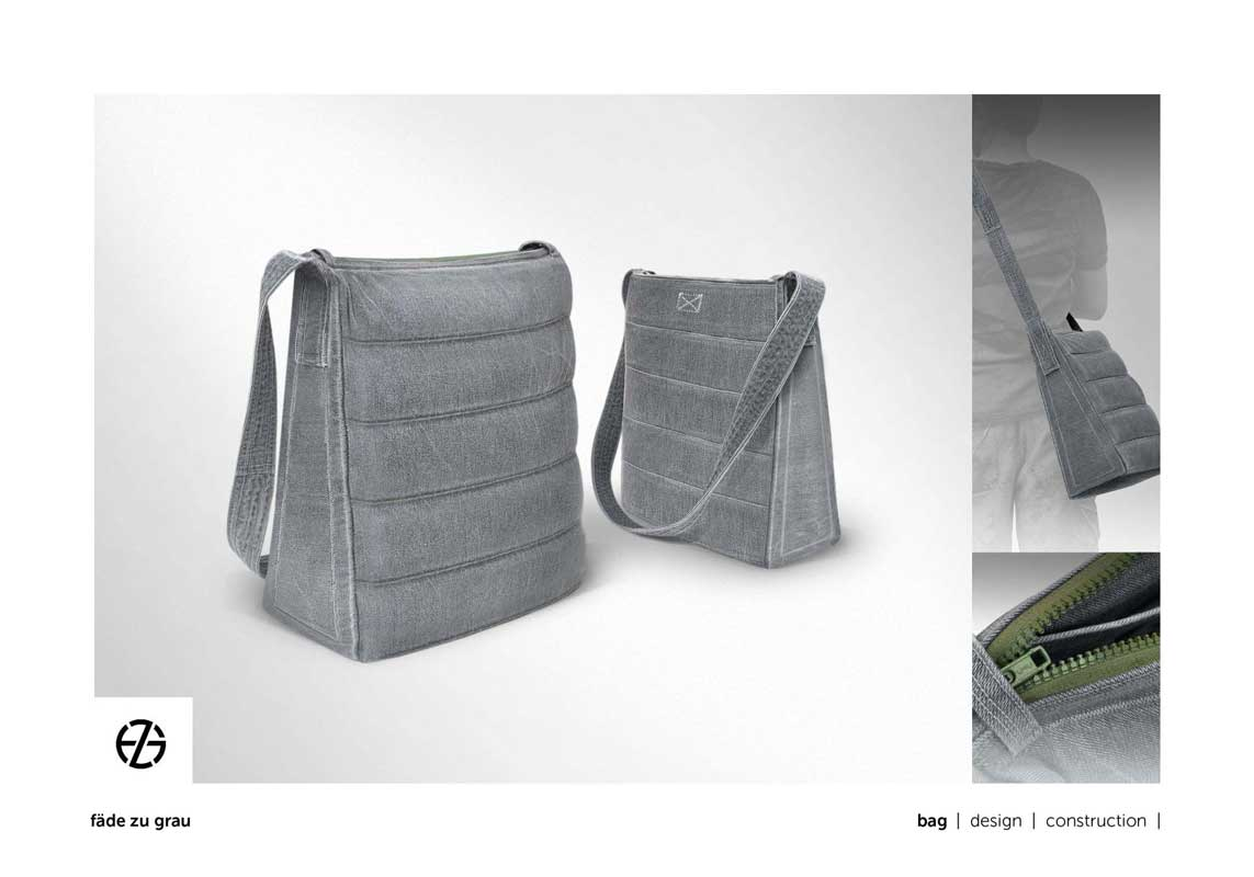 gray bag with zipper and handle