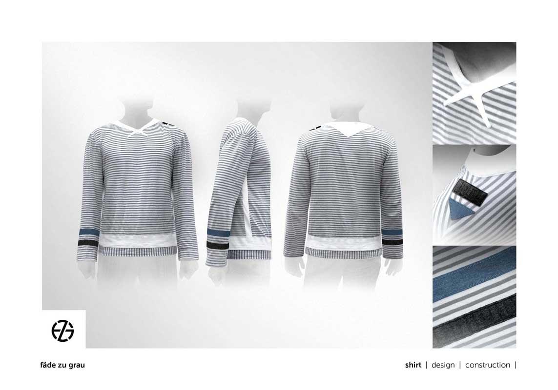 fashion model presents striped long-sleeve shirt