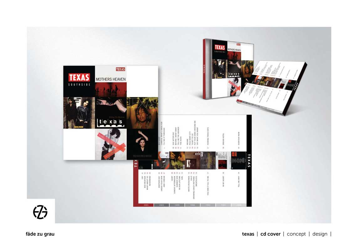 graphic design of a cd cover for the english band texas