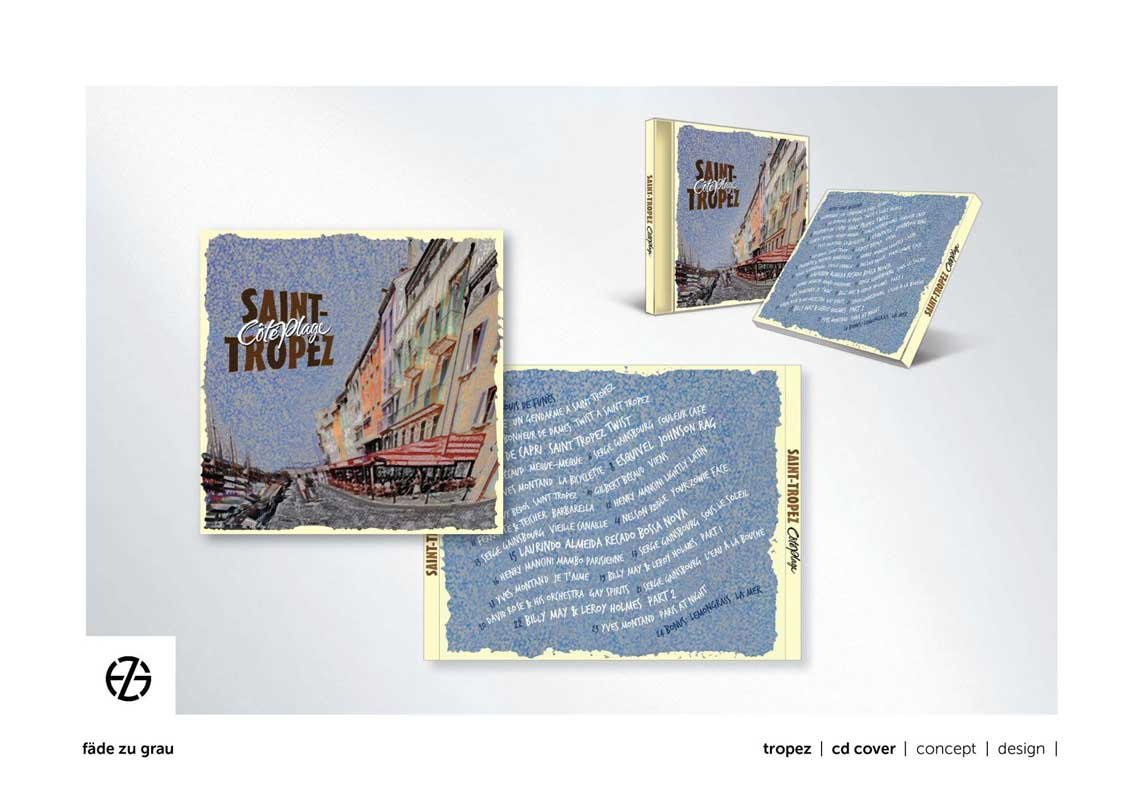 "graphic design cd cover for ""saint-tropez cote plage"""