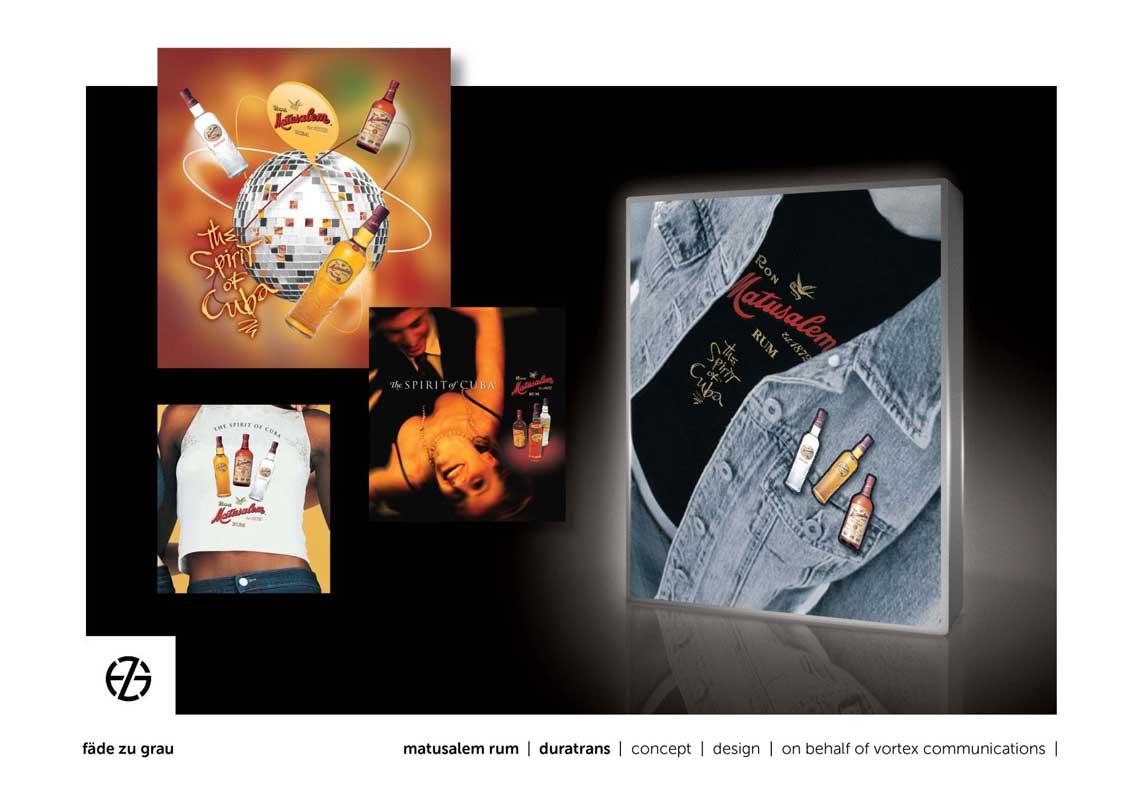 graphic design duratrans for matusalem rum advertising
