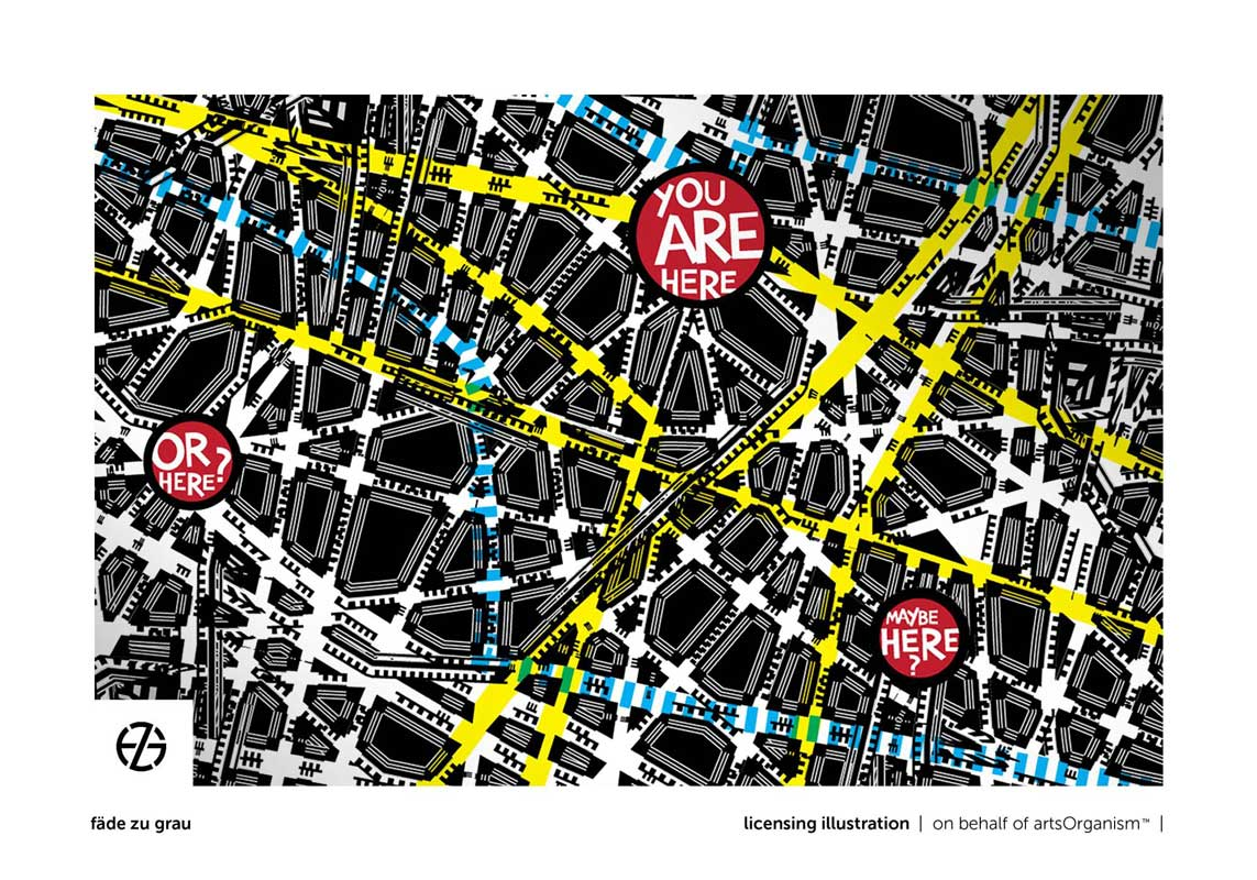 """graphic design drawing of a fictitious street map with the saying """"you are here"""""""