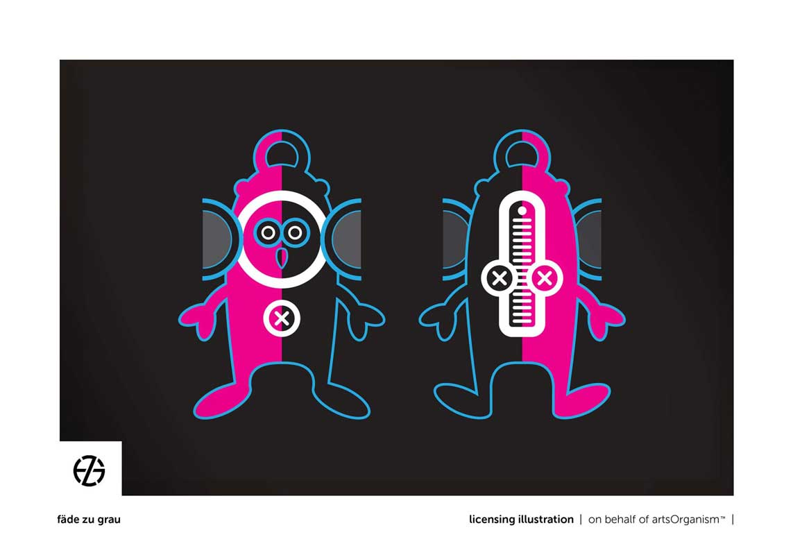 graphic design drawing of cartoon-like characters