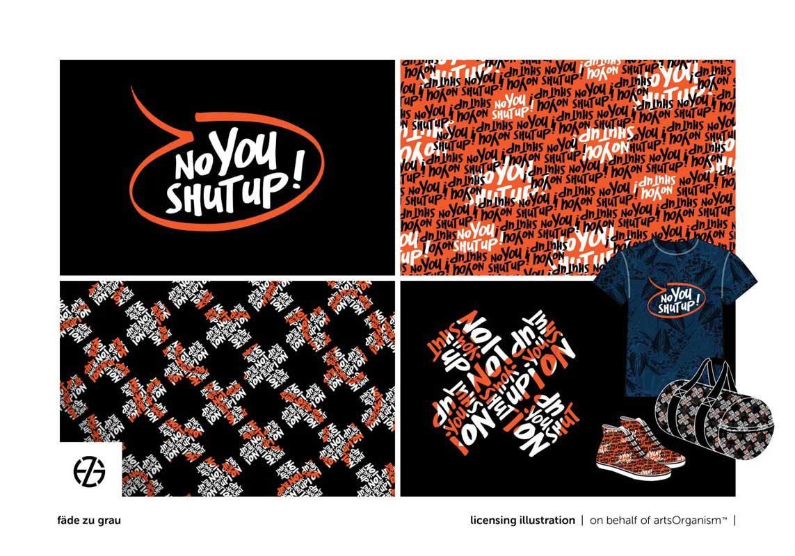 """graphic design of the saying """"no you shut up!"""""""