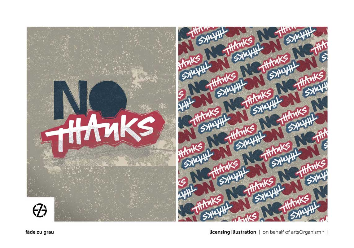 """graphic design of the saying """"no thanks"""""""