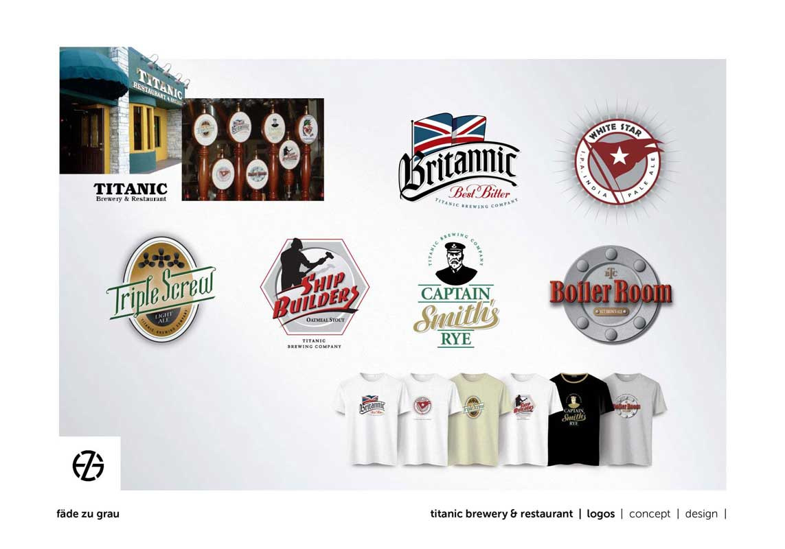 graphic design logos for titanic brewery restaurant miami
