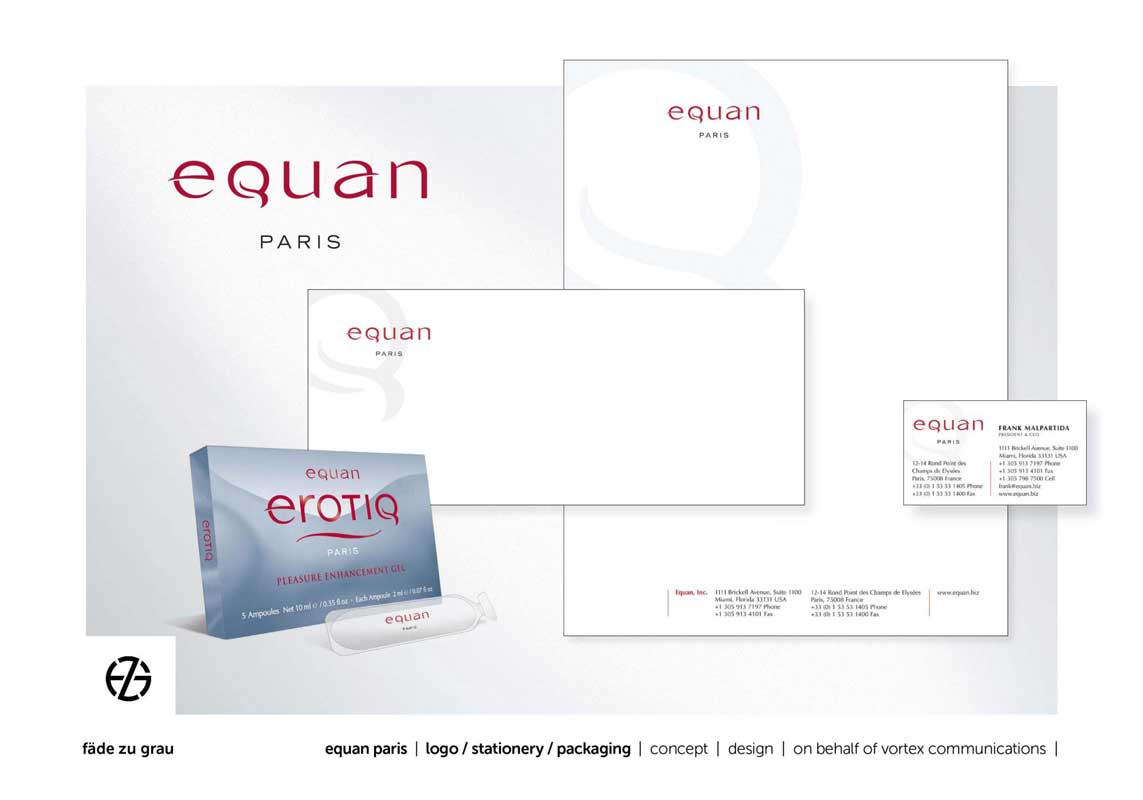 graphic design letterhead and product package for equan paris
