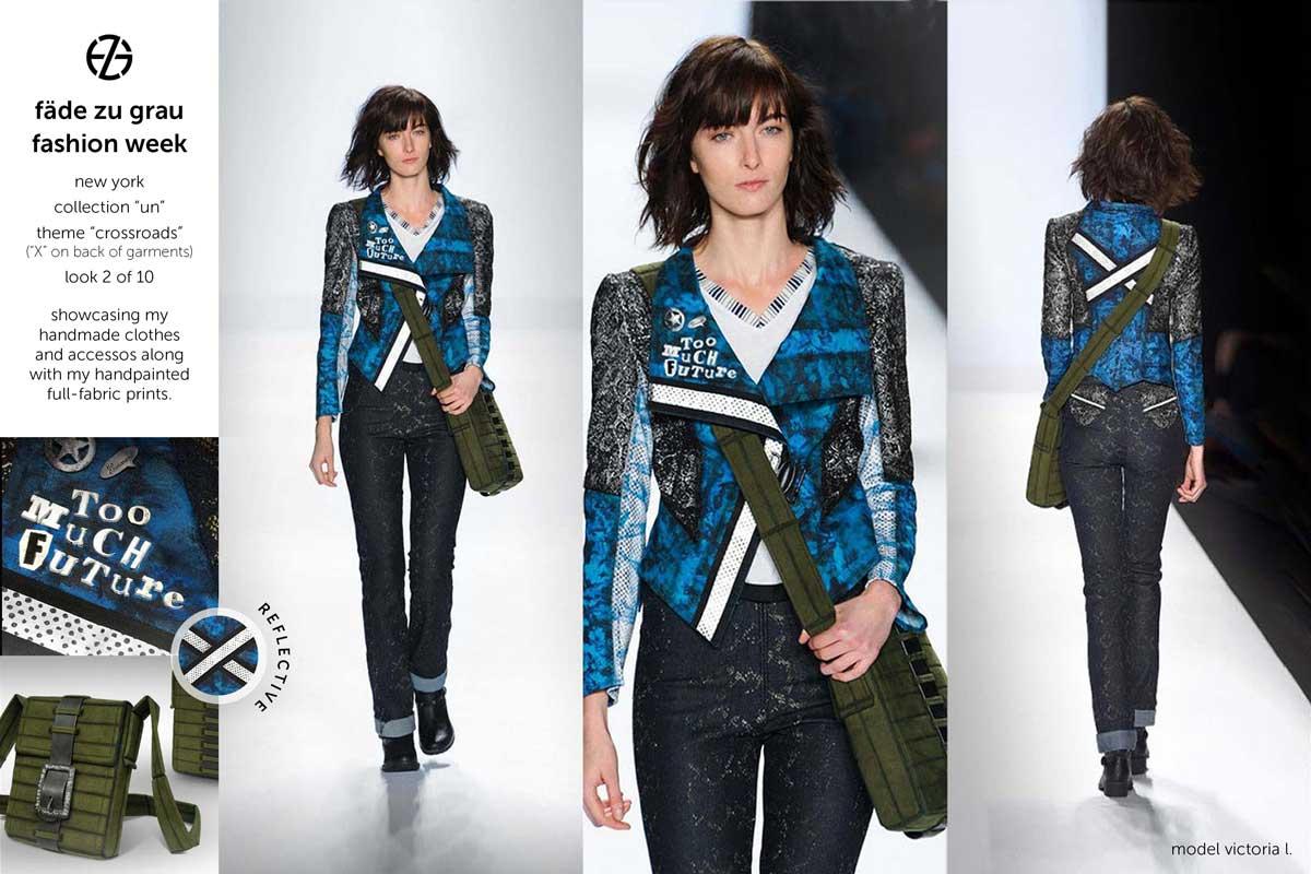female model on runway at new york fashion week wearing clothes by artist fade zu grau