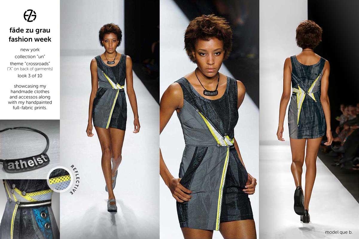 fade zu grau runway collection at new york fashion week, look 3