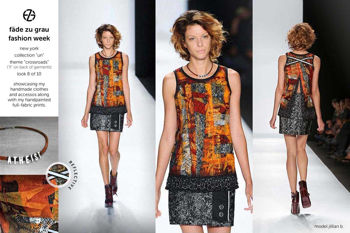 fade zu grau runway collection at new york fashion week, look 8
