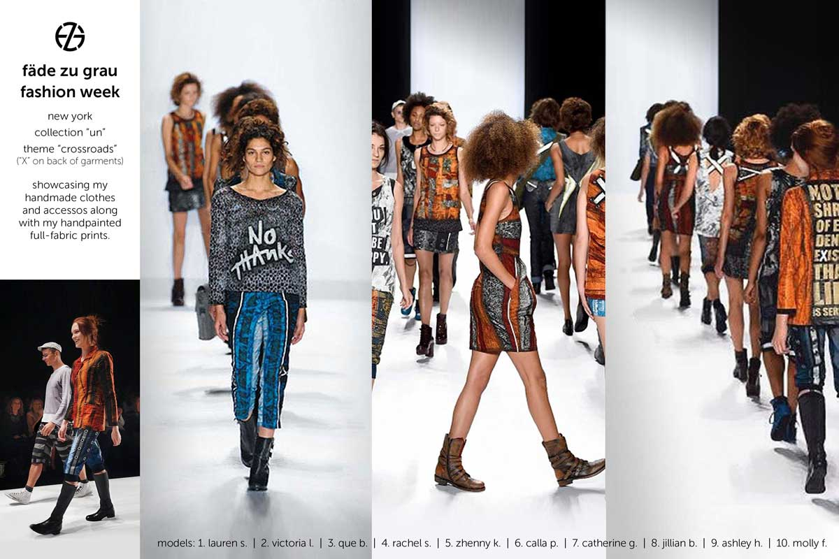 female models wearing fade zu grau clothes on runway at new york fashion week