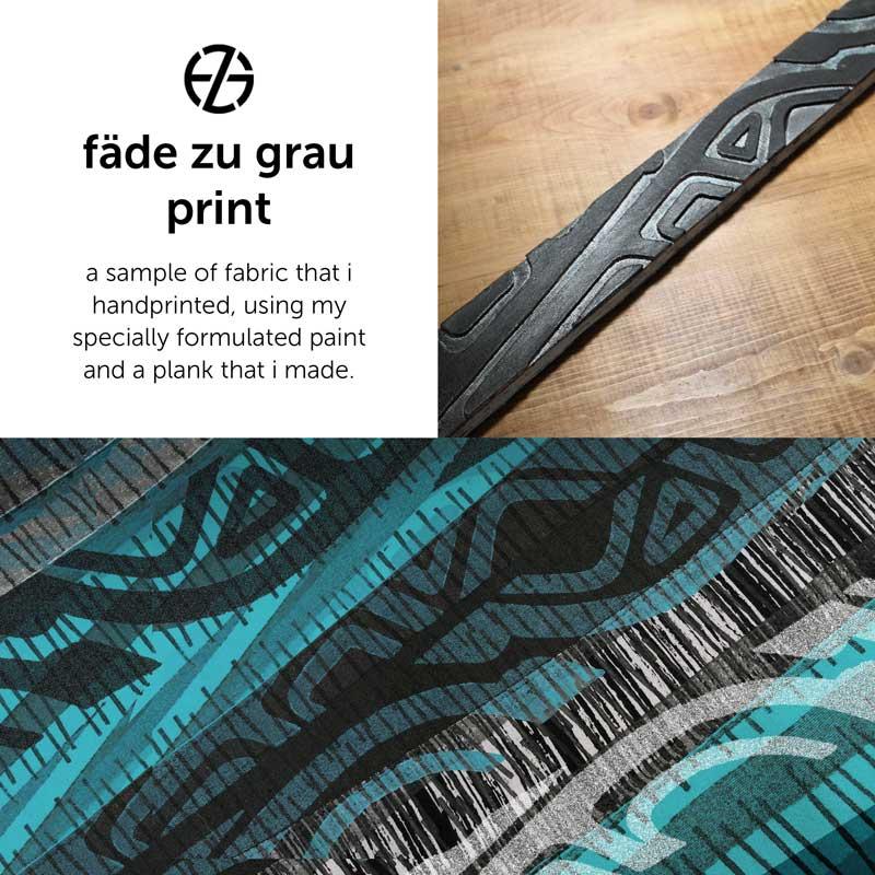 sample of handprinted fabric made by artist fade zu grau