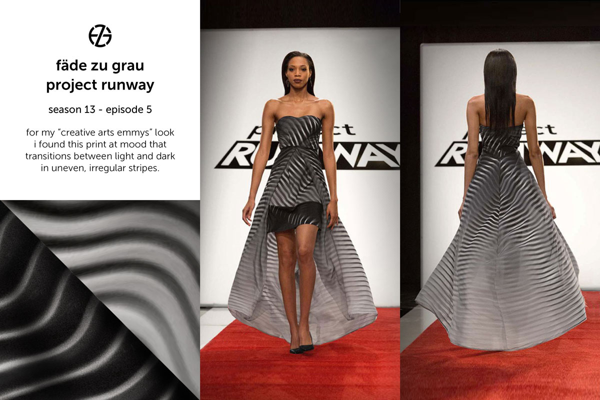 fade zu grau's look at project runway season 13, episode 5
