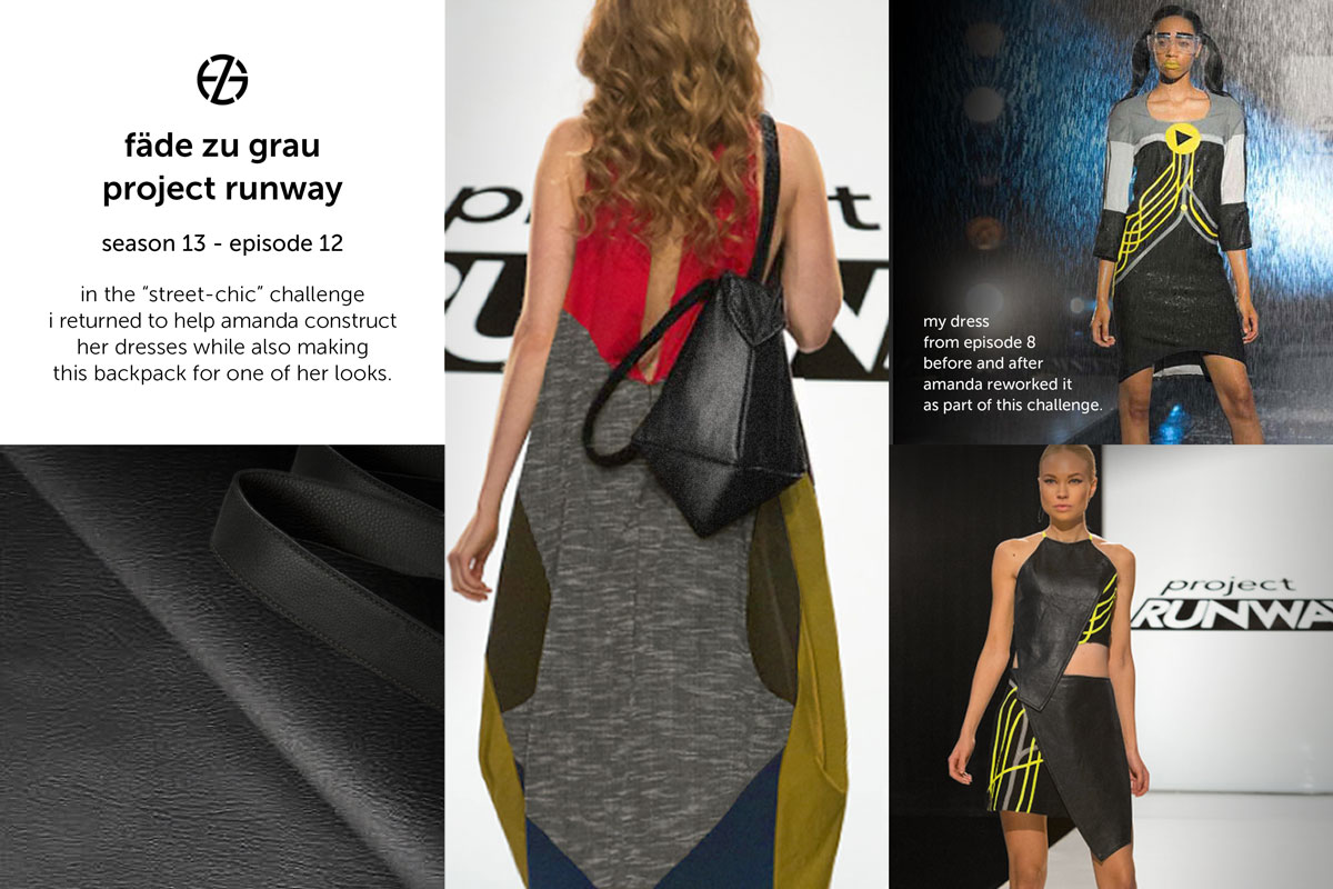 fade zu grau's backpack made for amanda valentine at project runway season 13, episode 12