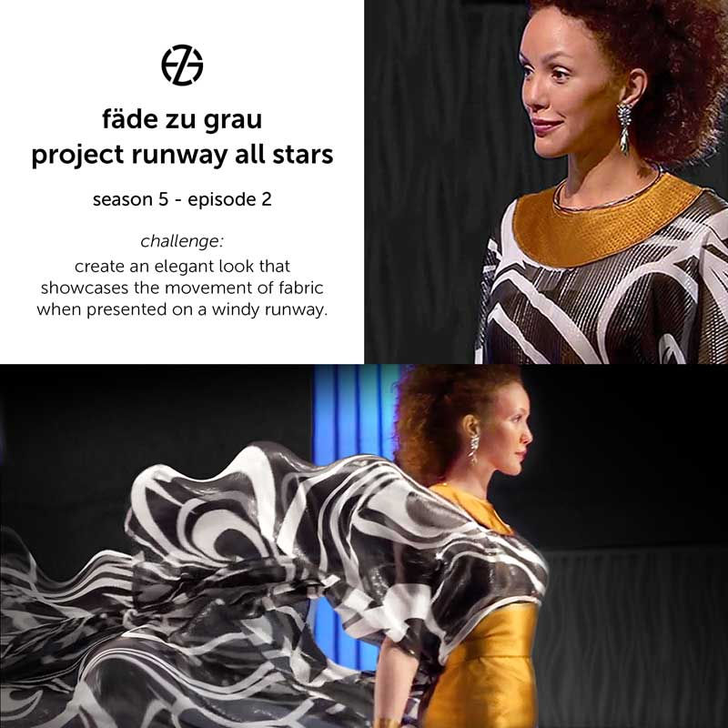 close-up of fade zu grau's look at project runway all stars, episode 2