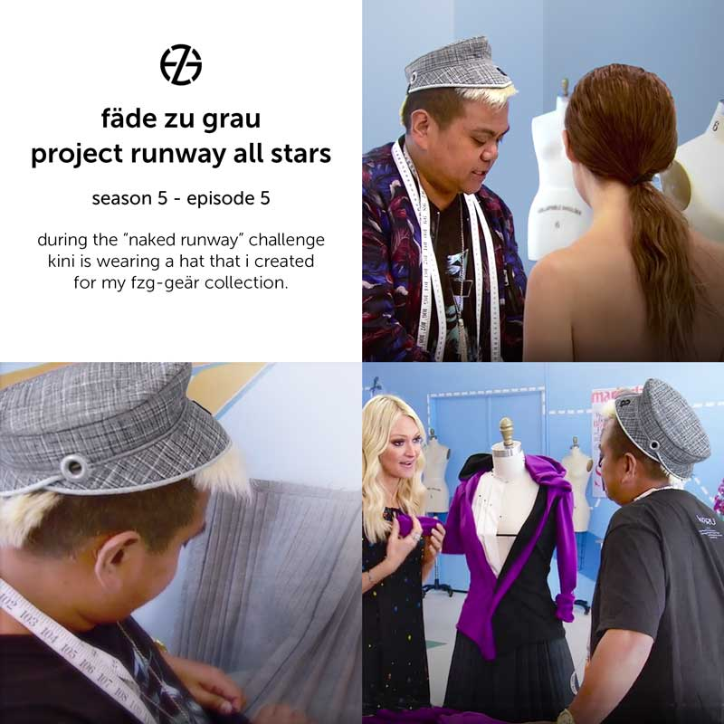 kini zamora wears fade zu grau's hat at project runway all stars