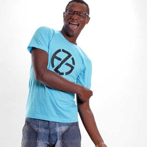 male model presents blue t-whirt with black logo, front view