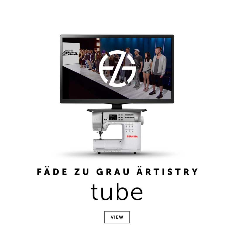 a tv screen with a scene from project runway and the logo of artist fade zu grau